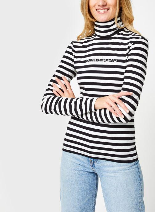 Vêtements Calvin Klein Jeans Stripes Ls Roll Neck Noir vue droite