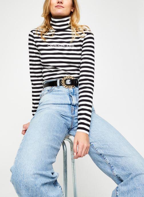 Vêtements Calvin Klein Jeans Stripes Ls Roll Neck Noir vue détail/paire