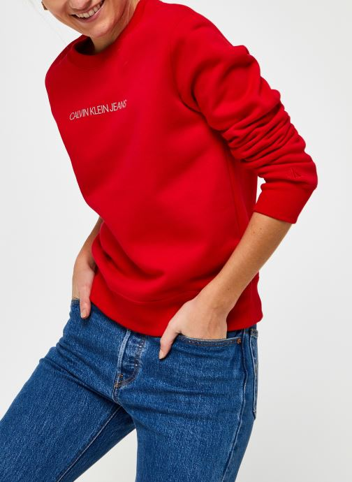 Vêtements Calvin Klein Jeans Shrunken Inst Reg Cn Rouge vue détail/paire