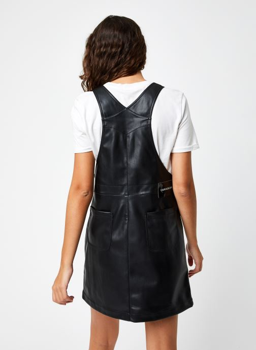 Kleding Calvin Klein Jeans Faux Leather Dungaree Zwart model