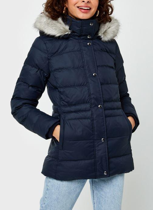 Vêtements Tommy Hilfiger Th Ess Tyra Down Jkt With Fur Bleu vue droite