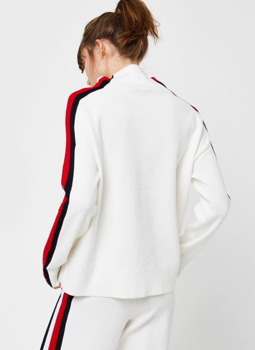 Vêtements Tommy Hilfiger Side Stripe MOCK-NK SWEATER LS Blanc vue portées chaussures