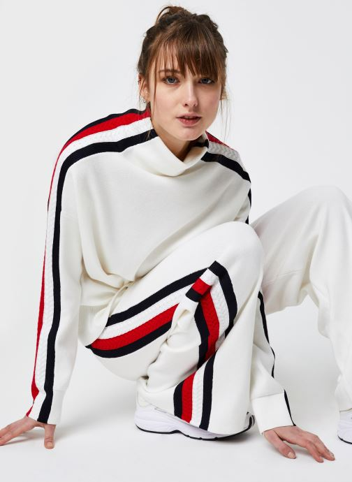 Vêtements Tommy Hilfiger Side Stripe MOCK-NK SWEATER LS Blanc vue détail/paire