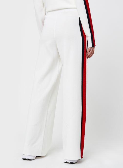 Vêtements Tommy Hilfiger Side Stripe Wide Pant Blanc vue portées chaussures
