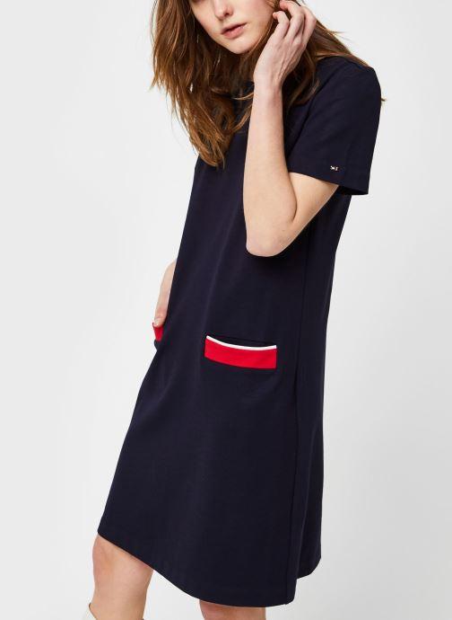 Vêtements Tommy Hilfiger Shift Punto Dress Ss Bleu vue droite