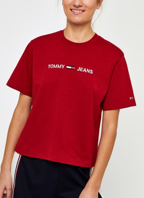 Vêtements Tommy Jeans Tjw Modern Linear Logo Tee Rouge vue droite