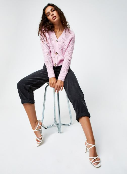 Vêtements Tommy Jeans TJW Pointelle Cardigan Rose vue bas / vue portée sac