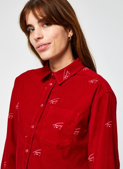 Vêtements Tommy Jeans TJW Critter Cord Shirt Rouge vue face