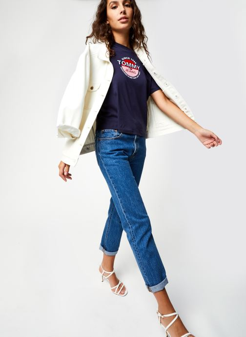 Vêtements Tommy Jeans TJW Circle Logo Tee Bleu vue bas / vue portée sac