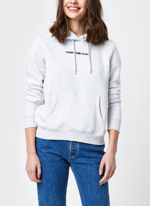 Ropa Tommy Jeans TJW Linear Logo Hoodie Gris vista de detalle / par
