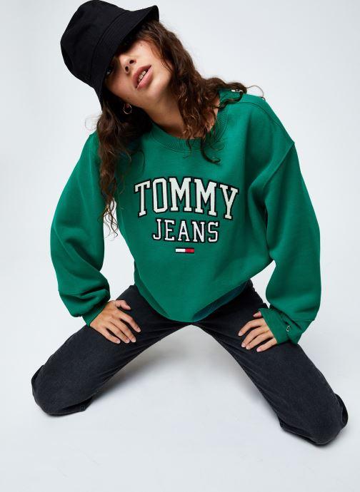 Vêtements Tommy Jeans TJW Collegiate  Logo Crew Vert vue bas / vue portée sac