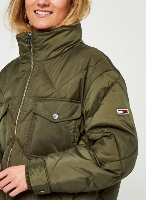 Vêtements Tommy Jeans TJW Diamond Quilted Coat Vert vue face