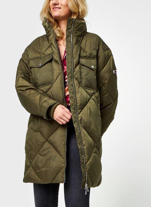 Vêtements Tommy Jeans TJW Diamond Quilted Coat Vert vue détail/paire