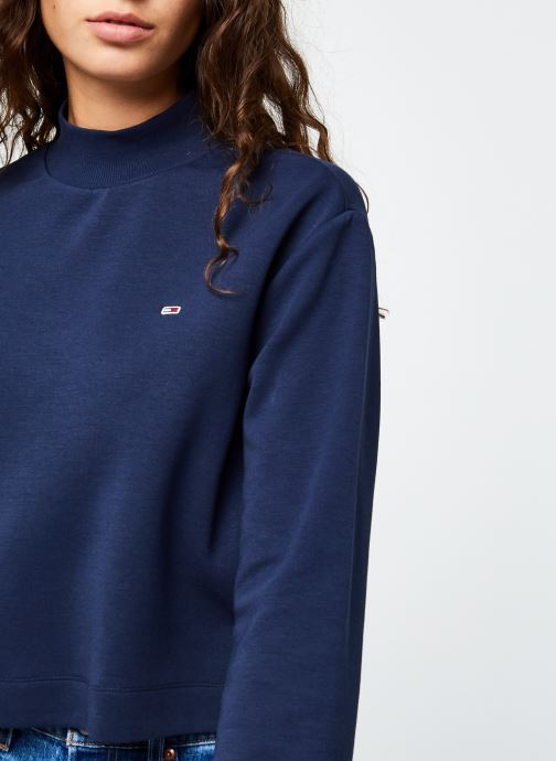 Vêtements Tommy Jeans TJW Solid Hybrid Longsleeve Bleu vue face