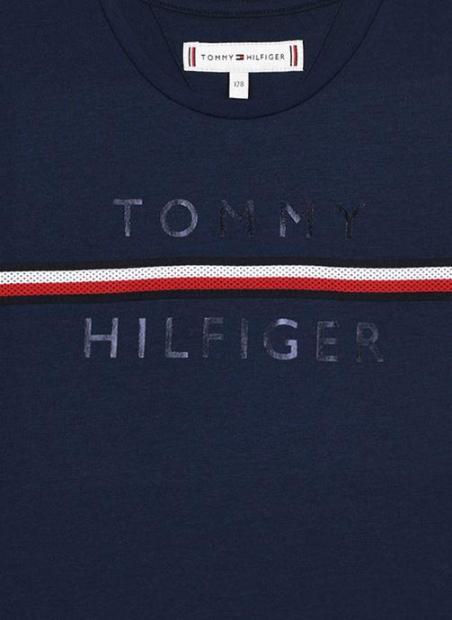 Vêtements Tommy Hilfiger Flag Tape Tee S/S Bleu vue face