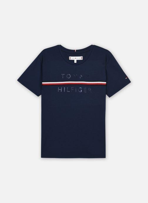 Vêtements Tommy Hilfiger Flag Tape Tee S/S Bleu vue détail/paire