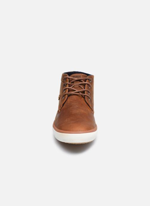 Baskets Faguo BASKET WATTLE LEATHER Marron vue portées chaussures