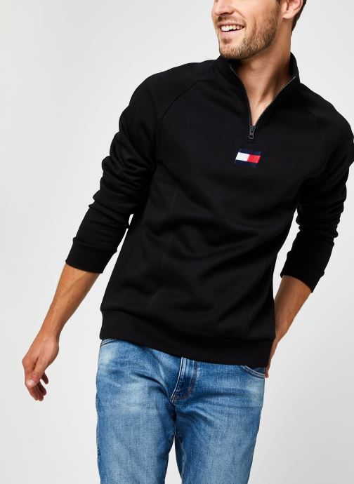 Kleding Tommy Sport 1/2 Zip Fleece Mid Layer Zwart detail