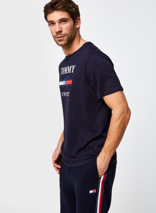 Vêtements Tommy Sport Graphic Tee Bleu vue droite