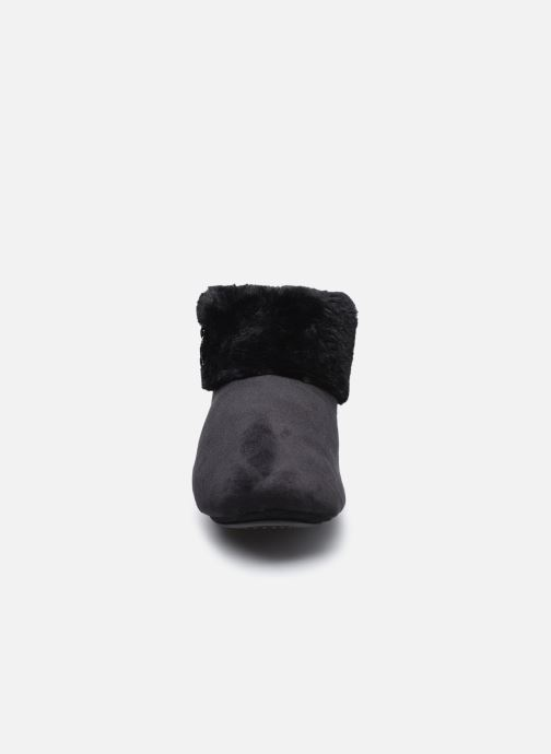Pantuflas Isotoner Botillions Microvelours - Nœud Rayures Lurex Negro vista del modelo