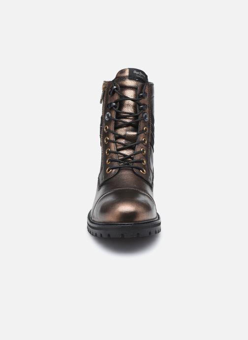 Bottines et boots Pepe jeans Melting Tape Woman Gold Marron vue portées chaussures
