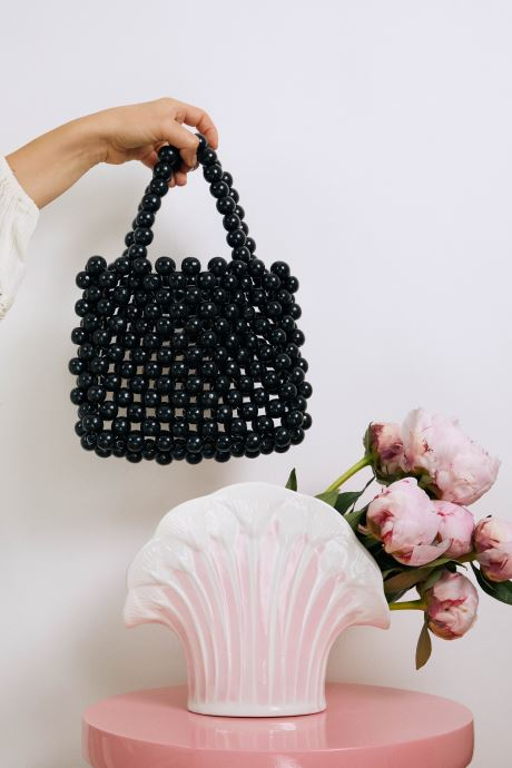 Handtaschen Moune Paris Blabla schwarz ansicht von unten / tasche getragen