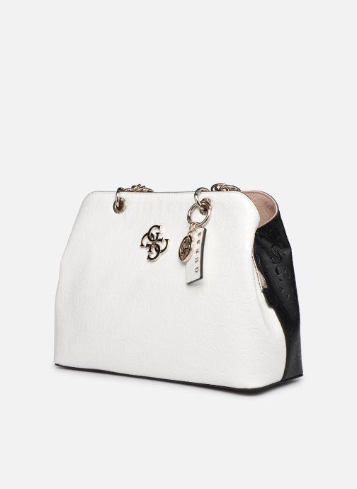 Bolsos de mano Guess CHIC SHINE LARGE GIRLFRIEND SATCHEL Blanco vista del modelo