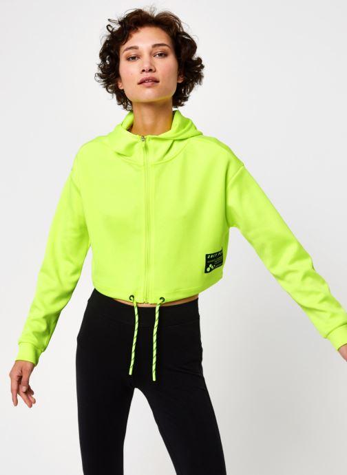 Vêtements Only Play Onpjudie Ls Cropped Zip Hood Sweat Jaune vue droite