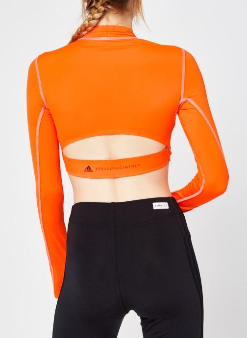 Vêtements adidas by Stella McCartney Tp Crop P.Blue Orange vue portées chaussures