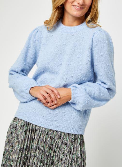 Vêtements Pieces Pcsakira Ls O-Neck Knit Bc Bleu vue droite