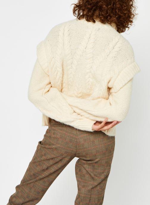 Vêtements Pieces Pcsappa Ls Roll Neck Knit Blanc vue portées chaussures