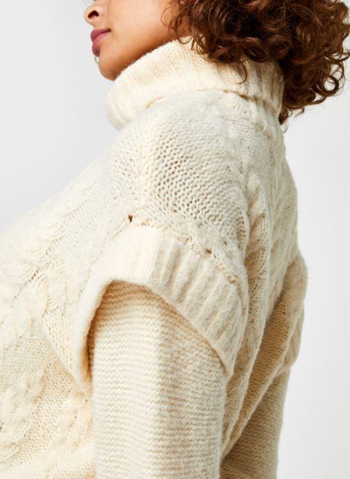 Vêtements Pieces Pcsappa Ls Roll Neck Knit Blanc vue face