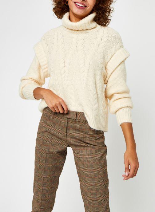 Vêtements Pieces Pcsappa Ls Roll Neck Knit Blanc vue droite