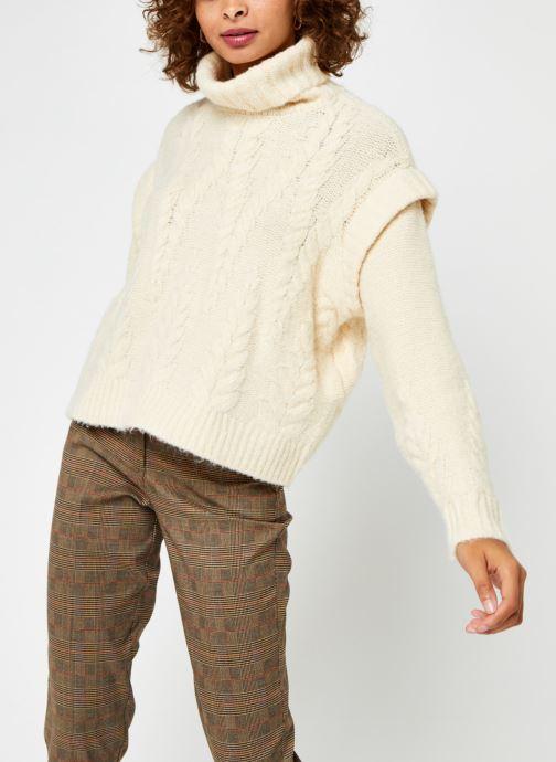 Vêtements Pieces Pcsappa Ls Roll Neck Knit Blanc vue détail/paire