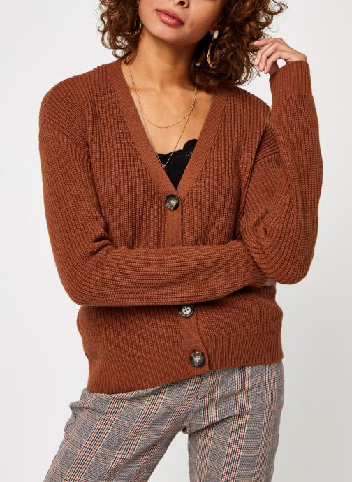 Vêtements Pieces Pckarie Ls Knit Cardigan Marron vue droite