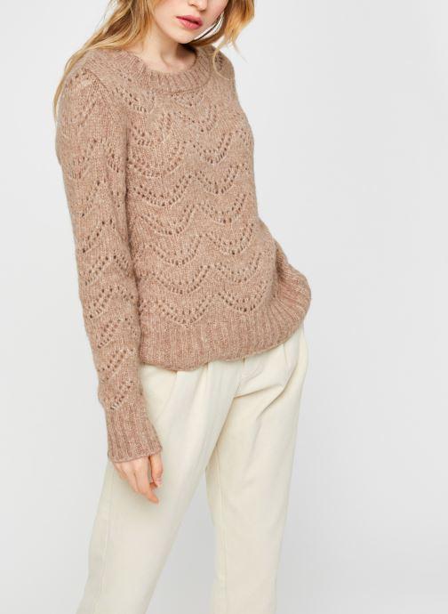 Vêtements Pieces Pcbibi Ls Knit Beige vue droite