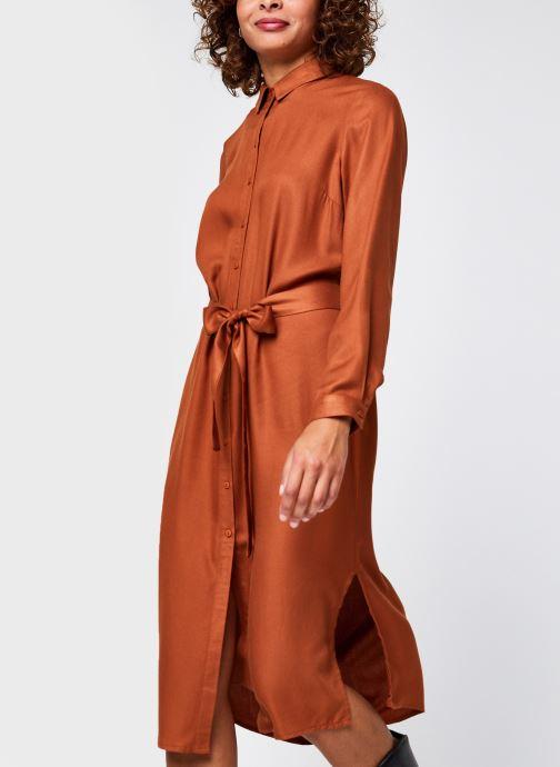 Vêtements Pieces Pcbarbel Ls Long Dress Cp Bc Marron vue droite