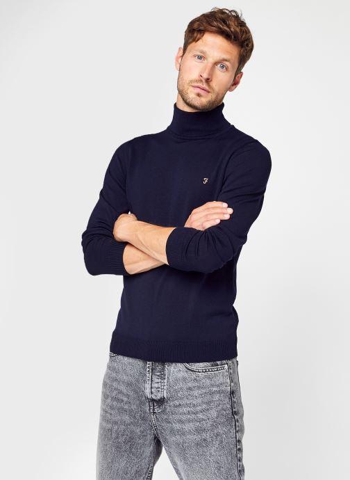 Vêtements Farah Gosforth - Merino Roll Neck Bleu vue détail/paire