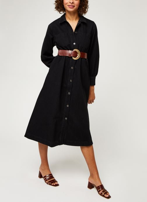 Vêtements Selected Femme Slfally Ls Midi Black Denim Dress W Noir vue bas / vue portée sac
