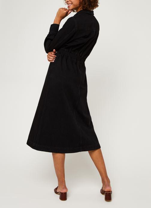 Vêtements Selected Femme Slfally Ls Midi Black Denim Dress W Noir vue portées chaussures