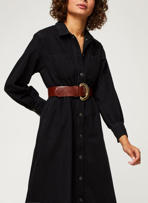 Robe midi - Slfally Ls Midi Black Denim Dress W