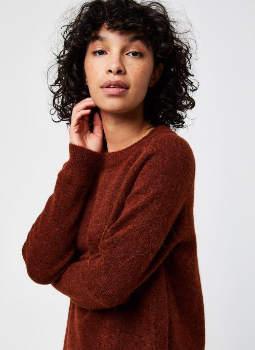 Kleding Selected Femme Slflulu Ls Knit O-Neck  Noos Rood voorkant
