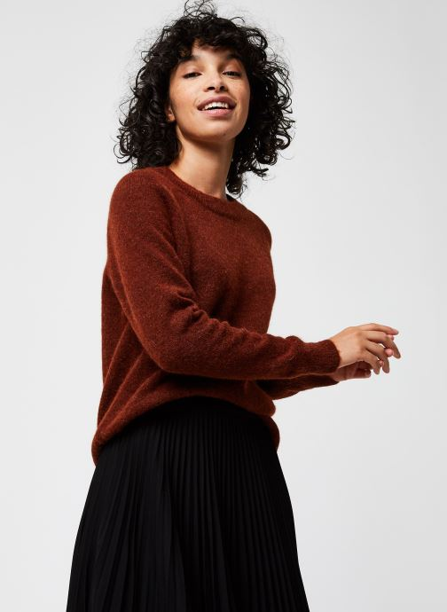 Kleding Selected Femme Slflulu Ls Knit O-Neck  Noos Rood detail