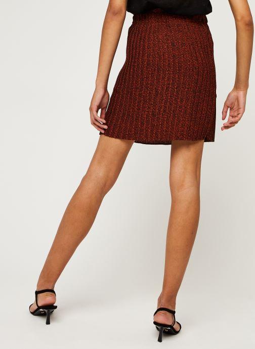 Vêtements Selected Femme Slfkinsley Mw Short Plisse Skirt B Rouge vue portées chaussures