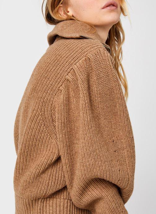 Kleding Selected Femme Slfkatty Puff Sleeve Knit Bruin voorkant