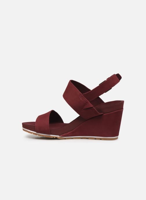 Sandalias Timberland Capri Sunset Wedge Vino vista de frente