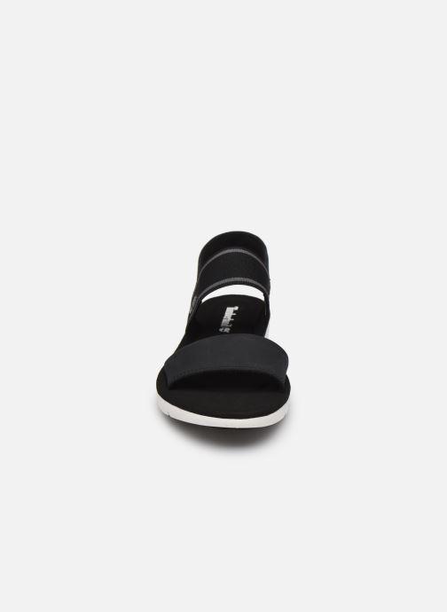Sandalen Timberland Lottie Lou F/L 2 Band Sandal schwarz schuhe getragen