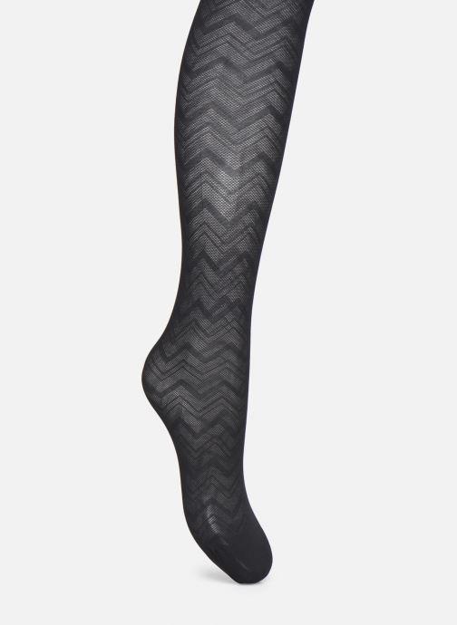 Chaussettes et collants Dim STYLE Collant Chevron Graphique Tulle Noir vue portées chaussures