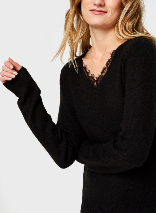 Vêtements Vero Moda Vmiva V-Neck Lace Blouse Color Noir vue face