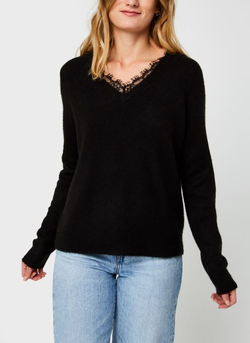 Vêtements Vero Moda Vmiva V-Neck Lace Blouse Color Noir vue droite